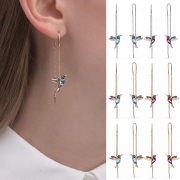Fashion Rhinestone Inlaid Bird Pendant Tassel Ear-lines