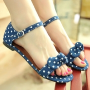 Sweet Polka Dots Bowknot Low Heel Peep Toe Sandal