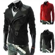 Fashion Solid Color Lapel Long Sleeve Oblique Zipper Men's Jacket