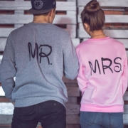 Casual Style Letters Printed Round Neck Long Sleeve Couple Sweatshirts
