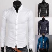 Fashion Long Sleeve POLO Collar Slim Fit Men's Shirt