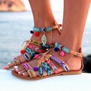 Ethnic Style Colorful Printed Flat Heel Open Toe Sandals