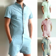 Fashion Solid Color Short Sleeve Single-breasted Men's Romper