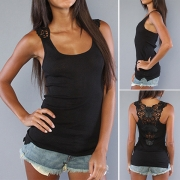 Sexy Hollow Out Lace Spliced Solid Color Tank Top