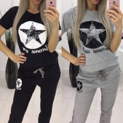 Fashion Pentagram Printed Short Sleeve T-shirt + Pants Sports Suit