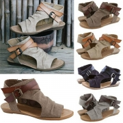 Retro Style Flat Heel Open Toe Sandals