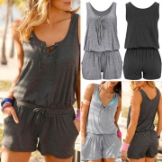 Fashion Solid Color Sleeveless Lace-up V-neck Romper (It falls small)