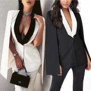 OL Style Contrast Color Cape-style Blazer