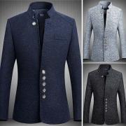 Fashion Standard Collar Long Sleeve Button Front Men Slim-Fit Blazer