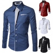 Fashion Contrast Color Long Sleeve Slim Fit Men's Shirt