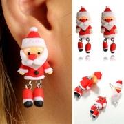 Cute Style 3D Santa Claus Shaped Earrings