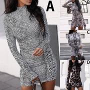 Sexy Long Sleeve Mock Neck Slim Fit Printed Dress