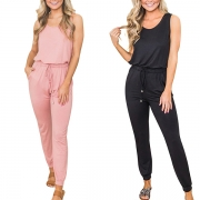Fashion Solid Color Round Neck Tank Top + Pants Two-piece Set