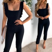 Sexy Backless Square Collar High Waist Slim Fit Sling Jumpsuit