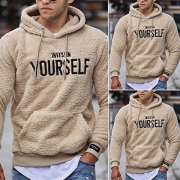 Fashion Letters Printed Long Sleeve Hooded Man's Plush Sweatshirt
