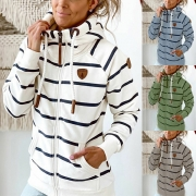 Casual Style Long Sleeve Hooded Striped Sweatshirt