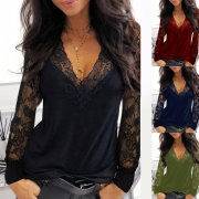 Sexy Lace Spliced Long Sleeve V-neck T-shirt