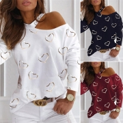 Sexy Off-shoulder Long Sleeve Heart Printed T-shirt
