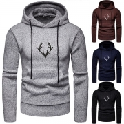Fashion Solid Color Long Sleeve Hooded Antlers Pattern Man's Knit Top