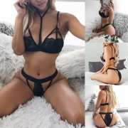 Sexy Hollow Out Solid Color Lace Bra Set Lingerie