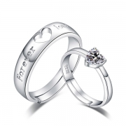 Fashion Rhinestone Inlaid Heart Couple Ring