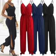 Sexy Backless V-neck Slit Hem High Waist Solid Color Sling Jumpsuit