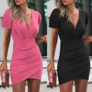 Sexy V-neck Irregular Hem Short Sleeve Solid Color Slim Fit Dress