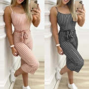 Sexy Backless High Waist Slim Fit Sling Stripe Jumpsuit