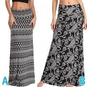 Bohemian Style High Waist Printed Maxi Skirt