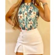 Fashion Sleeveless Mock Neck Printed Top + Skirt Two-piece Set