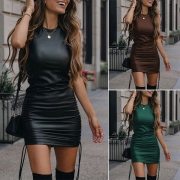 Fashion Solid Color Sleeveless Round Neck Slim Fit PU Leather Dress (Size falls small)