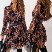 Sweet Style Long Sleeve V-neck Ruffle Hem Printed Dress (The waist belt is not including)
