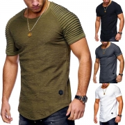 Simple Style Short Sleeve Round Neck Solid Color Men's T-shirt