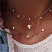 Fashion Heart Pendant Multi-layer Necklace