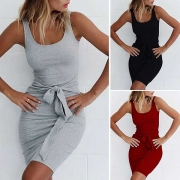 Fashion Solid Color Slim Fit Lace-up Tank Dress