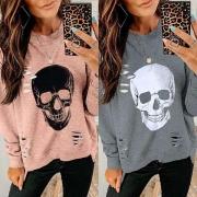 Trendy Ripped Irregular Hem Skull Print Long Sleeve Sweatshirt