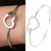 Fashion Hollow Out Heart Silver-tone Bracelet
