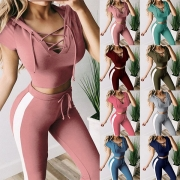 Sexy Lace-up V-neck Hooded Thin Crop Top + Pants Sports Suit