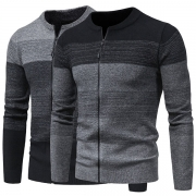 Fashion Contrast Color Long Sleeve Front-zipper Man's Knit Cardigan