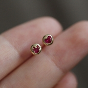 Simple Style Colorful Rhinestone Inlaid Alloy Asymmetry Stud Earrings