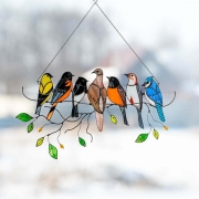 Art Bird Ornaments Hanging Suncacthers for Windows Doors Home Decoration
