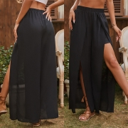 Fashion Solid Color Elastic Waist Slit Hem Skirt