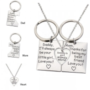 Chic Style Letters  Engraved Heart Pendant Parent-child Key Chain Necklace Set