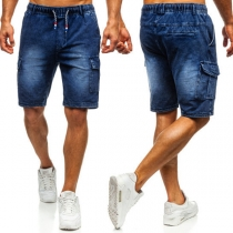 Fashion Elastic Waist Men's Knee-length Denim Shorts