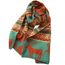 Folk Style Deer Geometric Figure Print Woolen Scarf