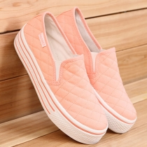 Casual Solid Color Chunky Sole Canvas Loafers Shoes