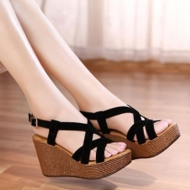 Criss Cross Strappy Open Toe Wedge Heel Platform Sandal