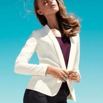 Shawl Lapel Business Suit Tunic Open Front Blazer Jacket Coat