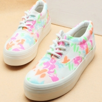 Retro European Style Floral Print Canvas Shoes