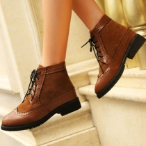 Classical Retro Perforated Lace-up Ankle Booties